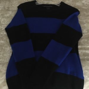 French Connection Black and Blue Striped Sweater